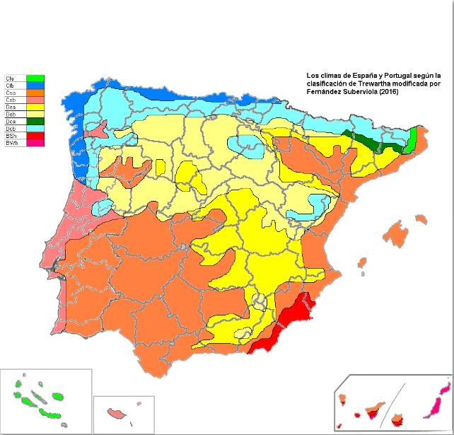 mapa climático de portugal Mapa climático de España y Portugal utilizando la clasificación de  mapa climático de portugal