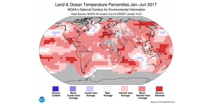 La primera mitad de 2017 fue la segunda más cálida en 138 años