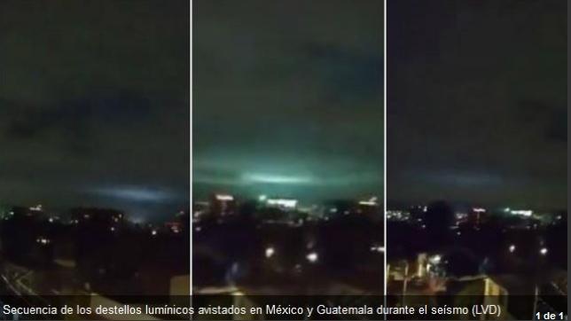 Destellos luminosos en el terremoto de México