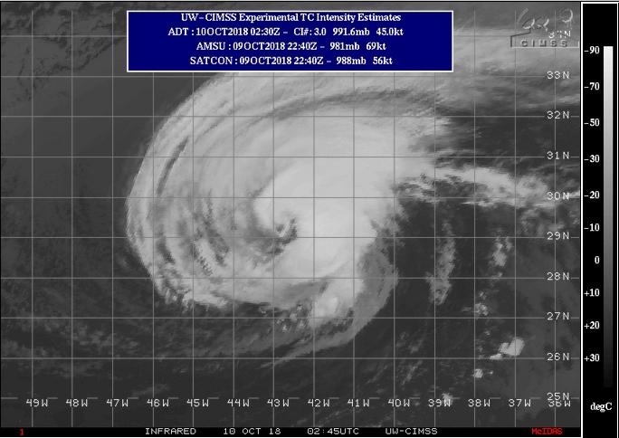 El huracán Leslie avanza rápidamente hacia Portugal y España