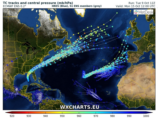 Huracán Leslie se aproxima a Portugal y España