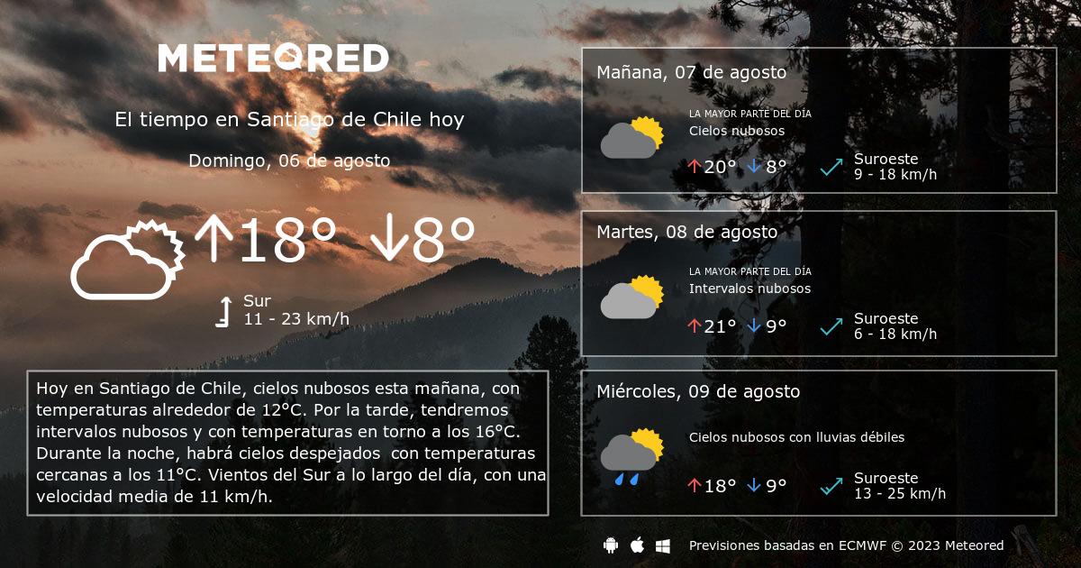 El Tiempo En Santiago De Chile Predicción A 14 Días Meteored