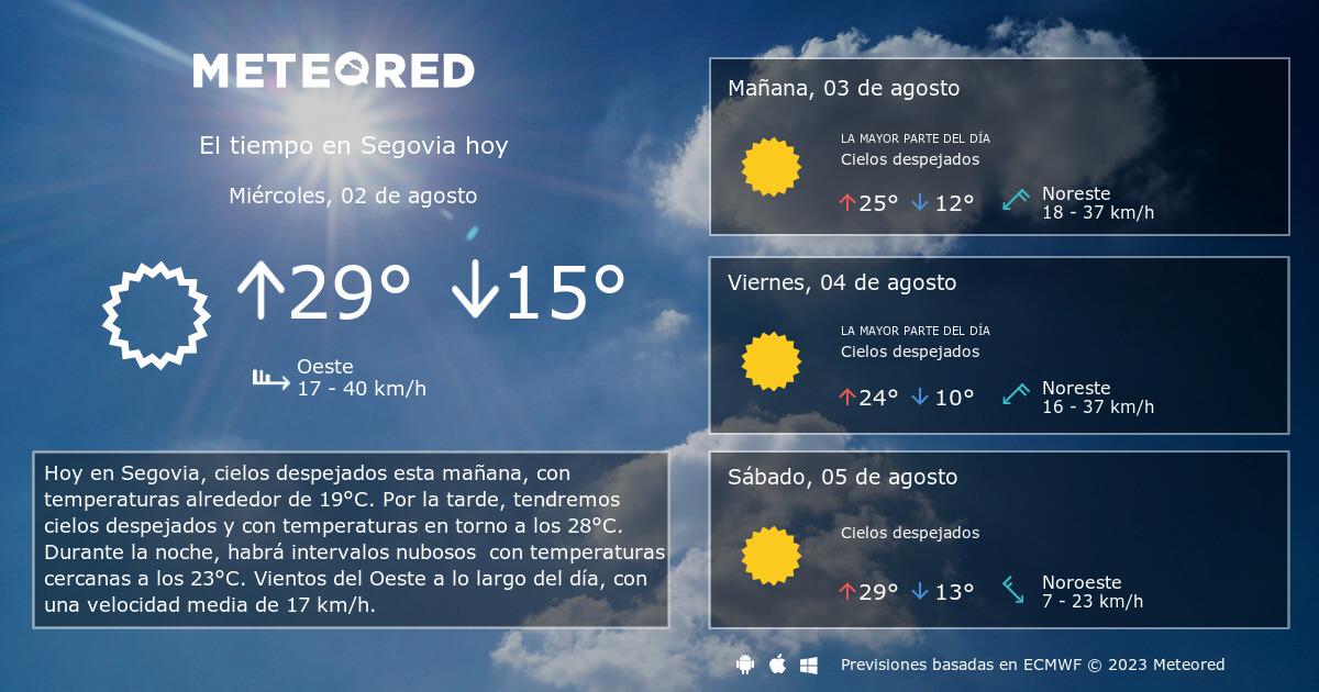 El Tiempo En Segovia Predicción A 14 Días Tiempocom