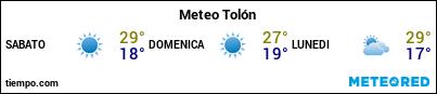 Previsioni del tempo nel porto di Tolone per i prossimi 3 giorni
