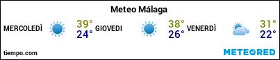 Previsioni del tempo nel porto di Malaga per i prossimi 3 giorni