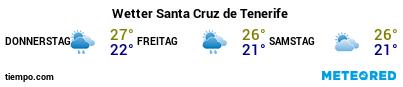Wettervorhersage im Hafen von Teneriffa (Santa Cruz) für die nächsten 3 Tage