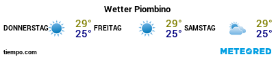 Wettervorhersage im Hafen von Piombino für die nächsten 3 Tage