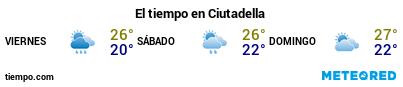 Previsión del tiempo en el puerto de Menorca (Ciudadela) para los próximos 3 días