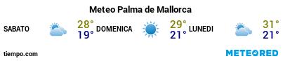 Previsioni del tempo nel porto di Maiorca (Palma) per i prossimi 3 giorni