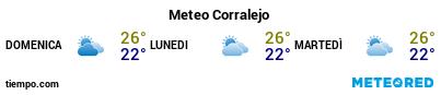 Previsioni del tempo nel porto di Fuerteventura (Corralejo) per i prossimi 3 giorni