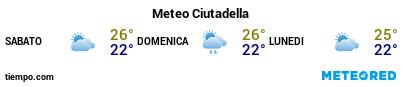 Previsioni del tempo nel porto di Minorca (Ciudadela) per i prossimi 3 giorni