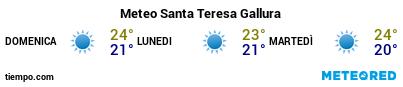 Previsioni del tempo nel porto di Santa Teresa Gallura per i prossimi 3 giorni
