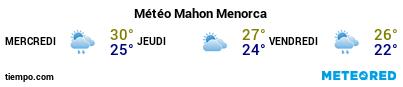 Météo au port de Minorque (Mahon) pour les 3 prochains jours