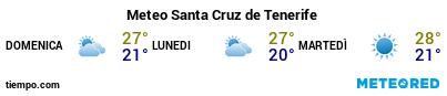 Previsioni del tempo nel porto di Tenerife (Santa Cruz) per i prossimi 3 giorni