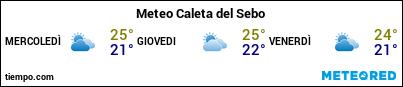 Previsioni del tempo nel porto di La Graciosa (Caleta de Sebo) per i prossimi 3 giorni