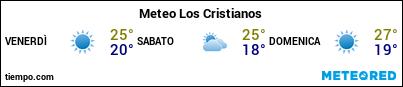 Previsioni del tempo nel porto di Tenerife (Los Cristianos) per i prossimi 3 giorni