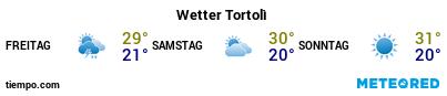Wettervorhersage im Hafen von Arbatax für die nächsten 3 Tage
