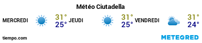 Météo au port de Minorque (Ciudadela) pour les 3 prochains jours