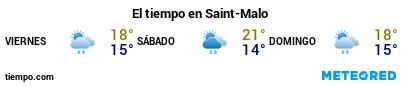Previsión del tiempo en el puerto de St Malo para los próximos 3 días