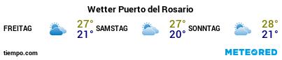 Wettervorhersage im Hafen von Fuerteventura (Puerto del Rosario) für die nächsten 3 Tage