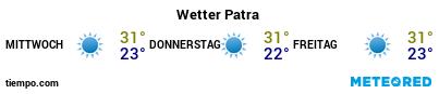 Wettervorhersage im Hafen von Patras für die nächsten 3 Tage