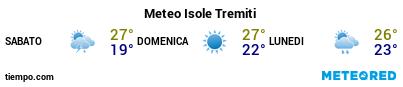 Previsioni del tempo nel porto di Tremiti per i prossimi 3 giorni