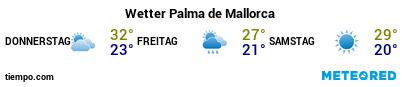 Wettervorhersage im Hafen von Mallorca (Palma) für die nächsten 3 Tage