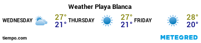 Weather forecast at the port of Lanzarote (Playa Blanca) for the next 3 days