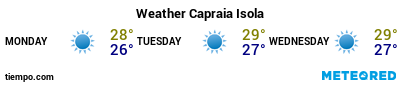 Weather forecast at the port of Capraia for the next 3 days