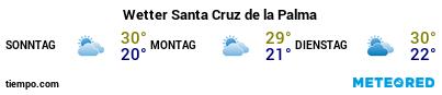 Wettervorhersage im Hafen von La Palma (S.C. de la Palma) für die nächsten 3 Tage