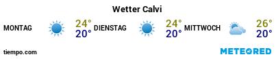 Wettervorhersage im Hafen von Calvi für die nächsten 3 Tage