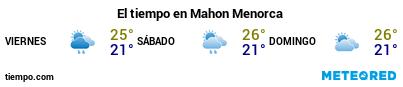Previsió del temps en el port de Menorca (Maó) per als pròxims 3 dies