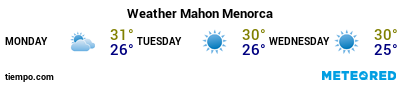 Weather forecast at the port of Menorca (Mahon) for the next 3 days