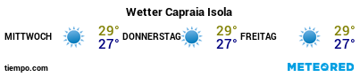 Wettervorhersage im Hafen von Capraia für die nächsten 3 Tage