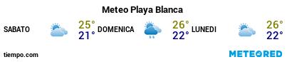 Previsioni del tempo nel porto di Lanzarote (Playa Blanca) per i prossimi 3 giorni