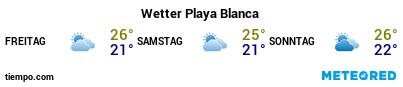 Wettervorhersage im Hafen von Lanzarote (Playa Blanca) für die nächsten 3 Tage