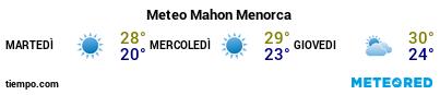 Previsioni del tempo nel porto di Minorca (Mahón) per i prossimi 3 giorni