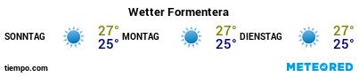 Wettervorhersage im Hafen von Formentera für die nächsten 3 Tage