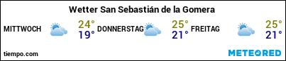 Wettervorhersage im Hafen von La Gomera (San Sebastián) für die nächsten 3 Tage