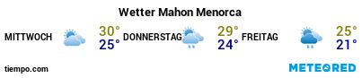 Wettervorhersage im Hafen von Menorca (Maó) für die nächsten 3 Tage