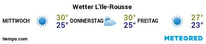 Wettervorhersage im Hafen von Île-Rousse für die nächsten 3 Tage