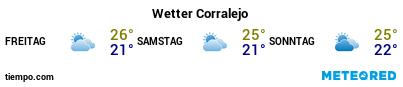 Wettervorhersage im Hafen von Fuerteventura (Corralejo) für die nächsten 3 Tage