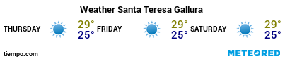 Weather forecast at the port of Santa Teresa Gallura for the next 3 days