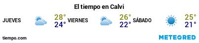 Previsión del tiempo en el puerto de Calvi para los próximos 3 días