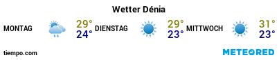Wettervorhersage im Hafen von Dénia für die nächsten 3 Tage