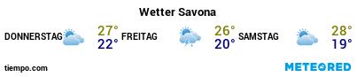 Wettervorhersage im Hafen von Savona für die nächsten 3 Tage