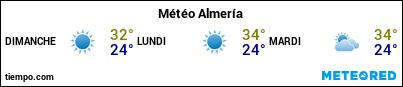 Météo au port de Almería pour les 3 prochains jours